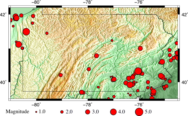 Historical seismic event map